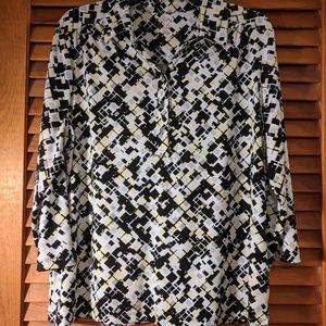 Square printed dress shirt